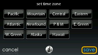 Set Time Zone Screen